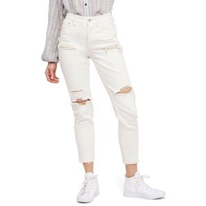 Free People White Distressed Lace Jeans